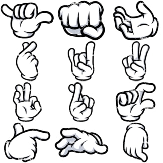 Cartoon gloved hands vector bundle. PNG - JPG and vector EPS file formats (infinitely scalable). Image isolated on transparent background.