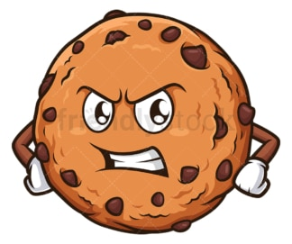 Angry chocolate chip cookie. PNG - JPG and vector EPS (infinitely scalable).