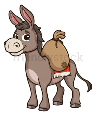 Donkey carrying load. PNG - JPG and vector EPS (infinitely scalable).