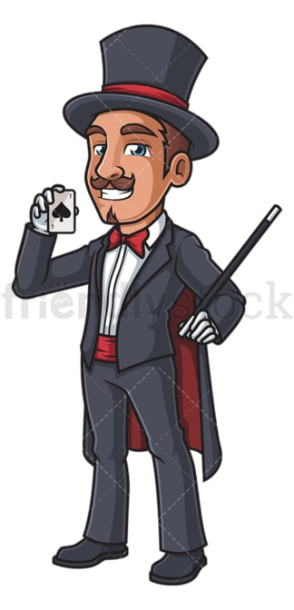 Magician holding a card. PNG - JPG and vector EPS (infinitely scalable).