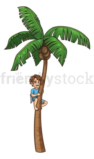 Man climbing coconut tree. PNG - JPG and vector EPS file formats (infinitely scalable). Image isolated on transparent background.