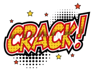 Crack retro comic book sound effect. PNG - JPG and vector EPS (infinitely scalable).