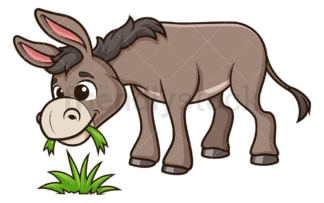 Donkey eating grass. PNG - JPG and vector EPS (infinitely scalable).