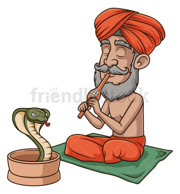Indian snakecharmer hypnotizing snake. PNG - JPG and vector EPS (infinitely scalable).