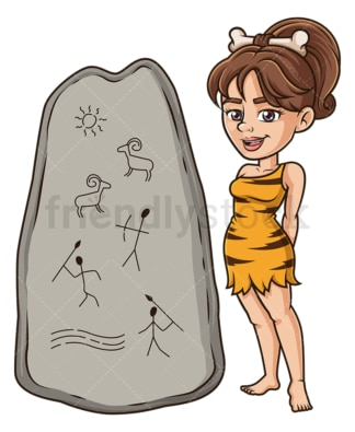 Cavewoman paleolithic drawings. PNG - JPG and vector EPS (infinitely scalable).