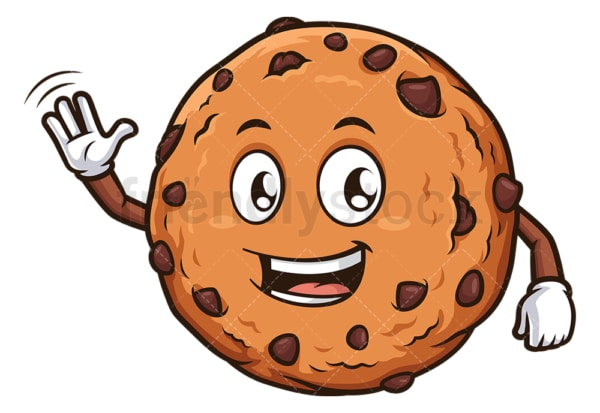 Friendly cookie waving. PNG - JPG and vector EPS (infinitely scalable).