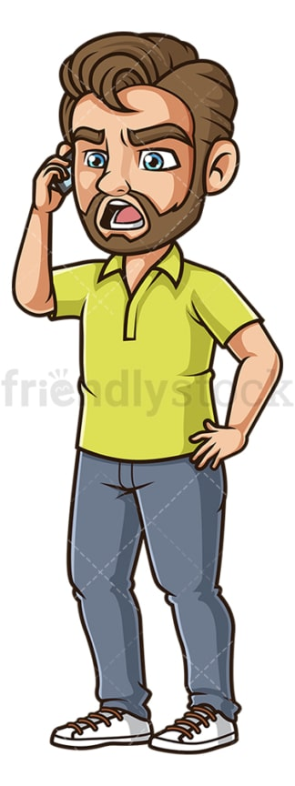 Man shouting on phone. PNG - JPG and vector EPS (infinitely scalable).