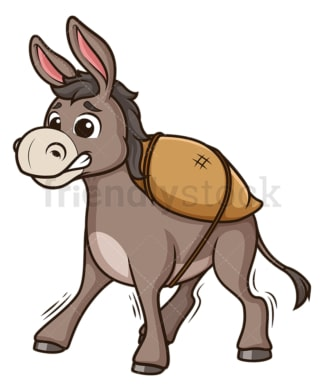 Overloaded donkey. PNG - JPG and vector EPS (infinitely scalable).