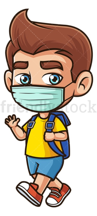 School boy with face mask. PNG - JPG and vector EPS file formats (infinitely scalable). Image isolated on transparent background.