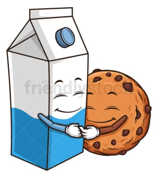 Chocolate chip cookie with milk. PNG - JPG and vector EPS (infinitely scalable).