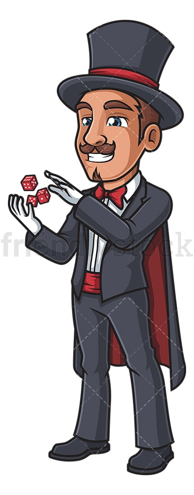 Magician flying dice trick. PNG - JPG and vector EPS (infinitely scalable).