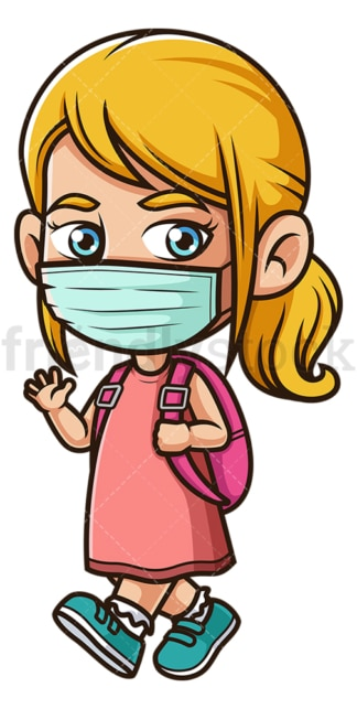 School girl with face mask. PNG - JPG and vector EPS file formats (infinitely scalable). Image isolated on transparent background.