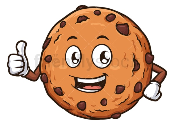 Cookie mascot thumbs up. PNG - JPG and vector EPS (infinitely scalable).