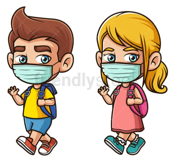 School kids wearing face mask. PNG - JPG and vector EPS file formats (infinitely scalable). Image isolated on transparent background.