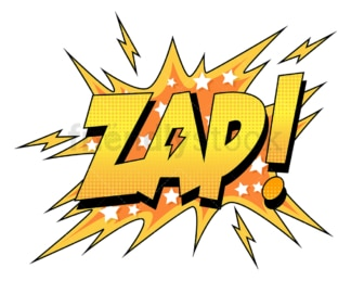 Zap retro comic book sound effect. PNG - JPG and vector EPS (infinitely scalable).