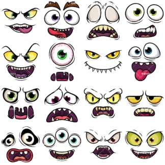 Cartoon monster faces vector clipart bundle. PNG - JPG and vector EPS file formats (infinitely scalable). Image isolated on transparent background.