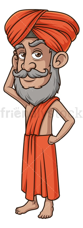 Indian guru thinking. PNG - JPG and vector EPS (infinitely scalable).