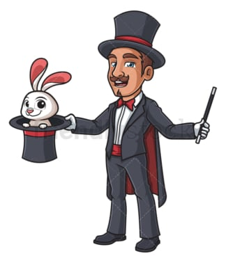 Magician with bunny and wand. PNG - JPG and vector EPS (infinitely scalable).