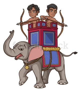 Persian war elephant. PNG - JPG and vector EPS file formats (infinitely scalable). Image isolated on transparent background.