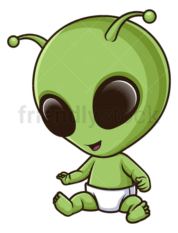 Baby alien. PNG - JPG and vector EPS file formats (infinitely scalable). Image isolated on transparent background.