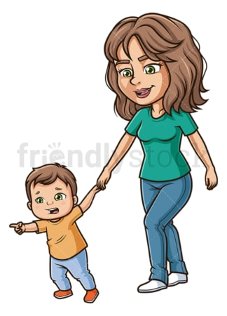 Frightened kid pulling mom. PNG - JPG and vector EPS file formats (infinitely scalable). Image isolated on transparent background.