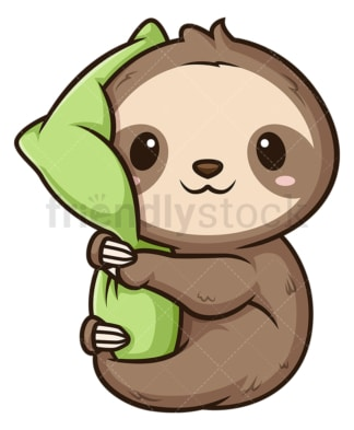 Cute sloth hugging pillow. PNG - JPG and vector EPS file formats (infinitely scalable). Image isolated on transparent background.