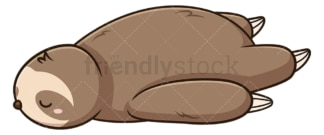 Exhausted sloth lying down. PNG - JPG and vector EPS file formats (infinitely scalable). Image isolated on transparent background.