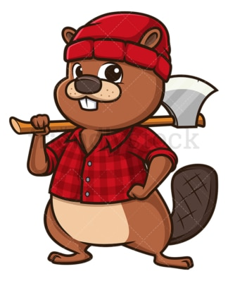 Lumberjack beaver. PNG - JPG and vector EPS file formats (infinitely scalable). Image isolated on transparent background.