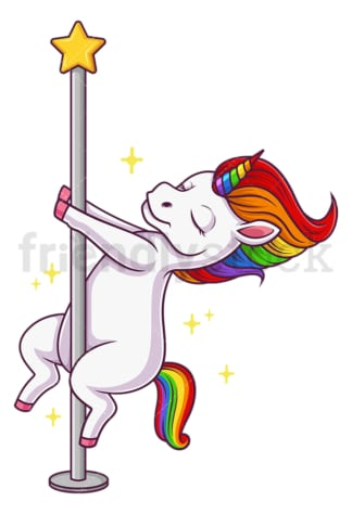 Unicorn pole dancing. PNG - JPG and vector EPS file formats (infinitely scalable). Image isolated on transparent background.
