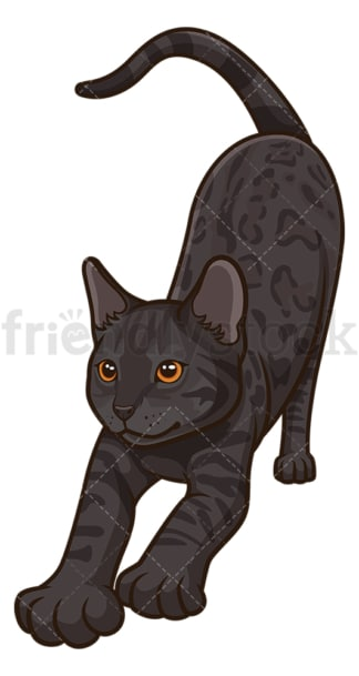 Black bengal cat stretching. PNG - JPG and vector EPS (infinitely scalable).