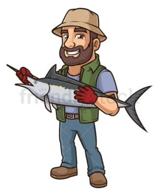 Fisherman holding swordfish. PNG - JPG and vector EPS file formats (infinitely scalable). Image isolated on transparent background.