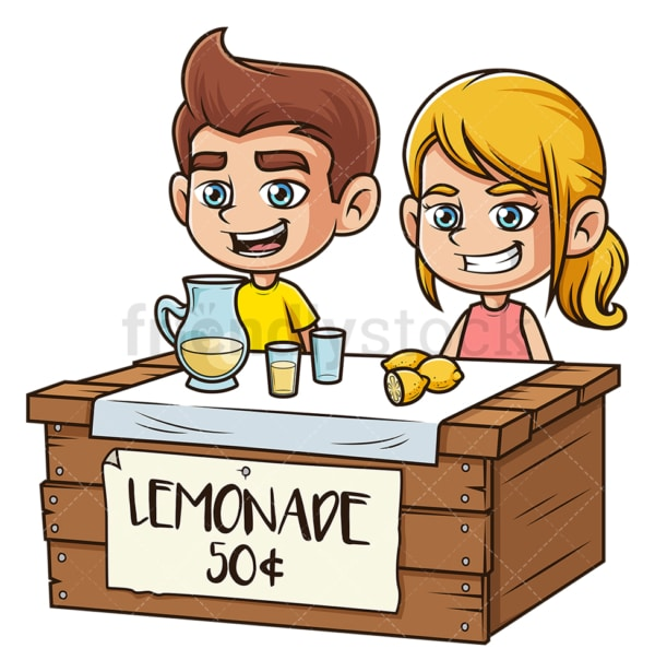 Kids selling lemonade. PNG - JPG and vector EPS file formats (infinitely scalable). Image isolated on transparent background.
