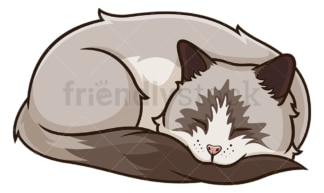 Ragdoll cat sleeping. PNG - JPG and vector EPS (infinitely scalable).