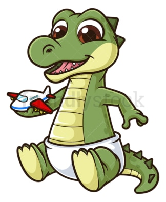 Cute baby crocodile. PNG - JPG and vector EPS file formats (infinitely scalable). Image isolated on transparent background.