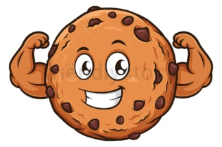 Strong chocolate chip cookie. PNG - JPG and vector EPS file formats (infinitely scalable). Image isolated on transparent background.