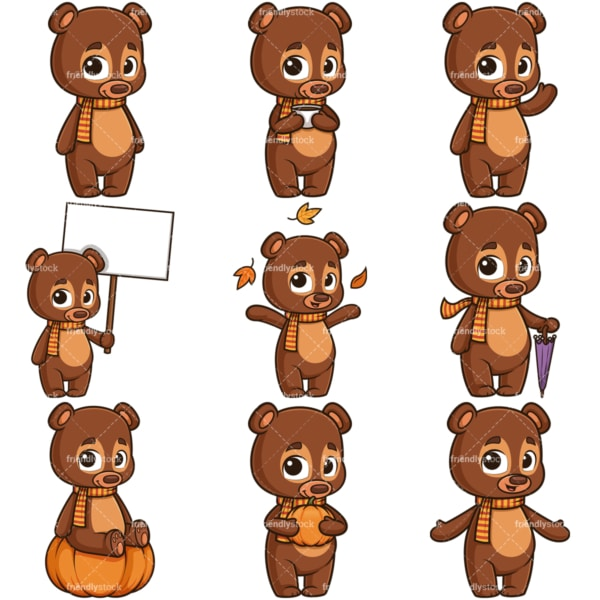 Autumn bear character clipart collection. PNG - JPG and infinitely scalable vector EPS - on white or transparent background.