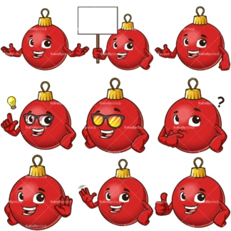 Christmas ball mascot cartoon character. PNG - JPG and infinitely scalable vector EPS - on white or transparent background.