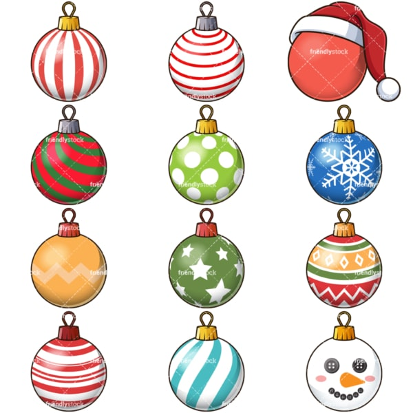 Christmas ball ornaments. PNG - JPG and vector EPS file formats (infinitely scalable). Images isolated on transparent background.