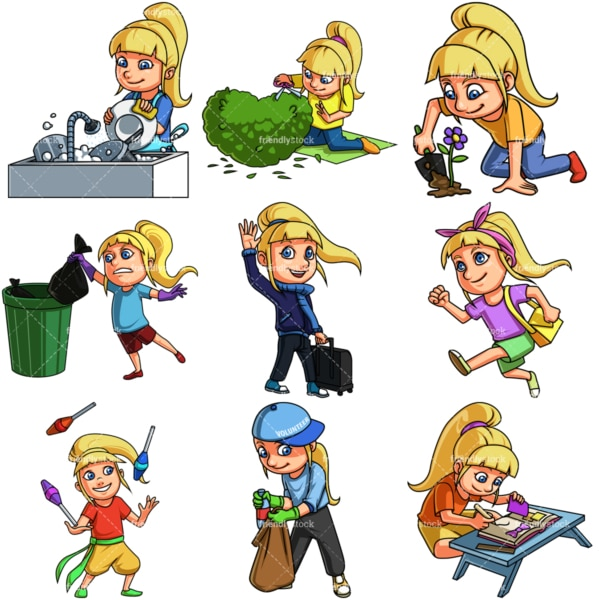 Girl doing various activities. PNG - JPG and infinitely scalable vector EPS - on white or transparent background.