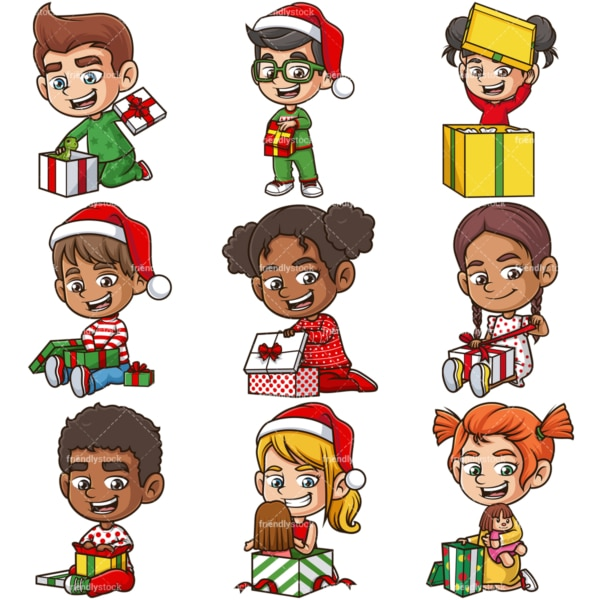 Kids opening presents. PNG - JPG and infinitely scalable vector EPS - on white or transparent background.