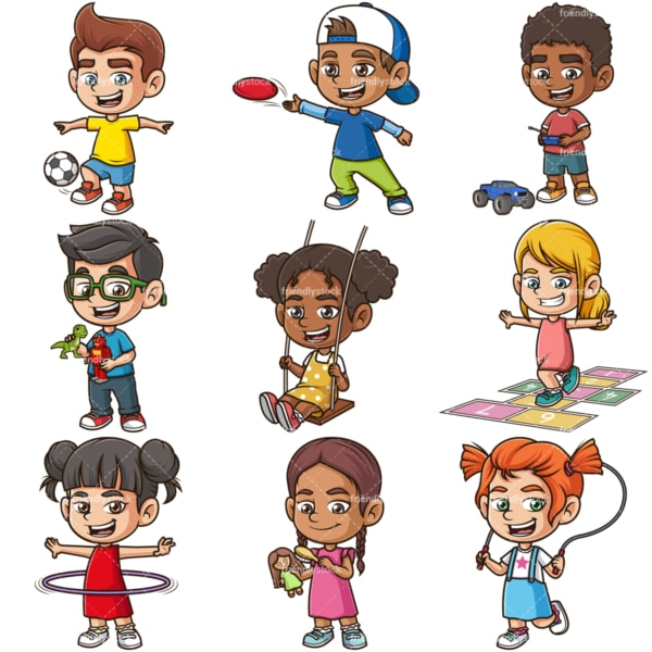 Kids playing vector bundle. PNG - JPG and infinitely scalable vector EPS - on white or transparent background.
