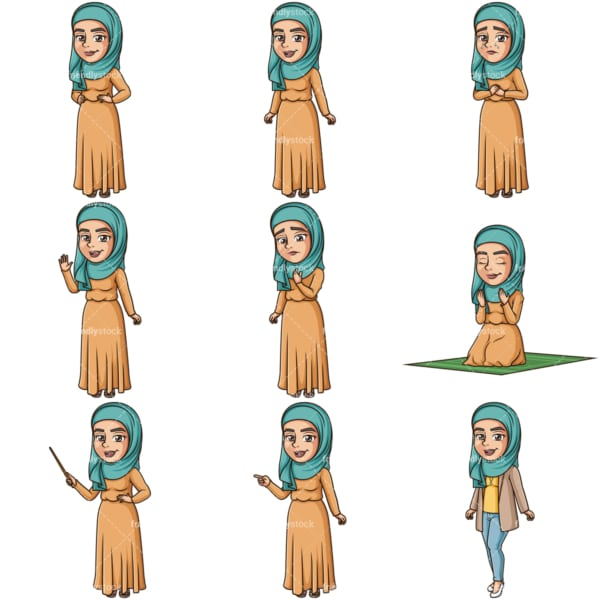 Muslim woman vector bundle. PNG - JPG and infinitely scalable vector EPS - on white or transparent background.