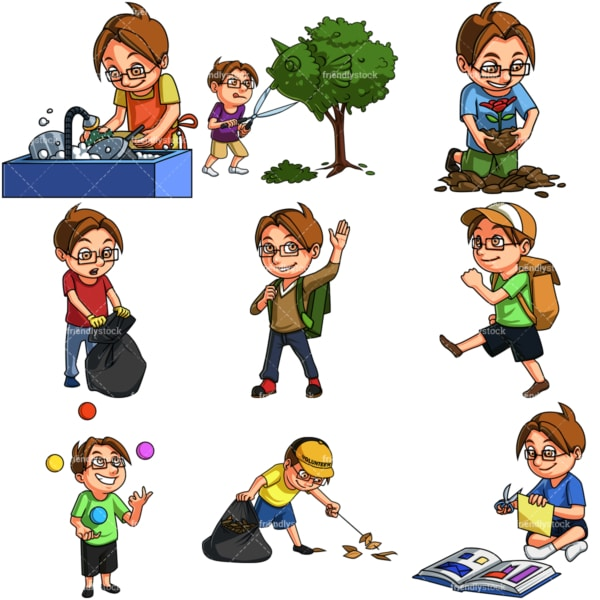 Boy doing various activities. PNG - JPG and infinitely scalable vector EPS - on white or transparent background.