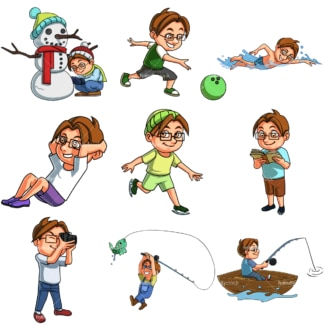 Nerdy boy doing activities. PNG - JPG and infinitely scalable vector EPS - on white or transparent background.