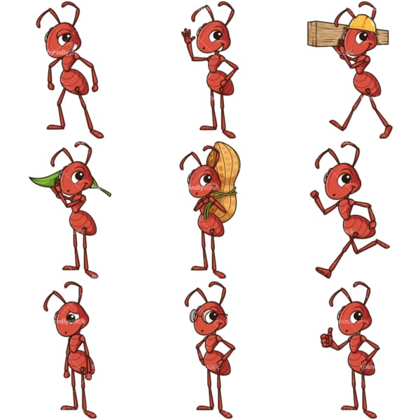 Red ant mascot character. PNG - JPG and infinitely scalable vector EPS - on white or transparent background.
