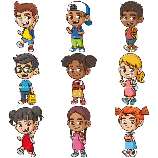 School kids. PNG - JPG and infinitely scalable vector EPS - on white or transparent background.
