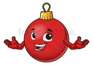 Friendly christmas ball mascot. PNG - JPG and vector EPS (infinitely scalable).