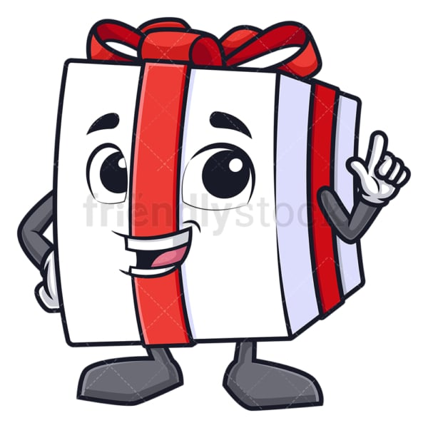 Gift box pointing. PNG - JPG and vector EPS (infinitely scalable).