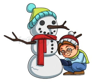 Kid building snowman. PNG - JPG and vector EPS (infinitely scalable).