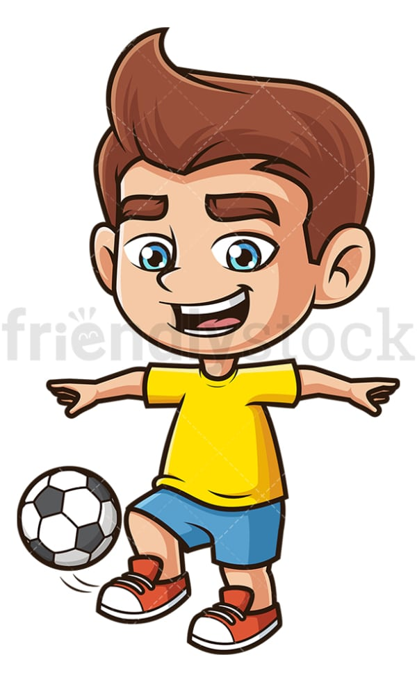 Kid juggling soccer ball. PNG - JPG and vector EPS (infinitely scalable).